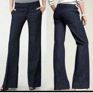 Tory Burch dark wash wide leg trouser jeans